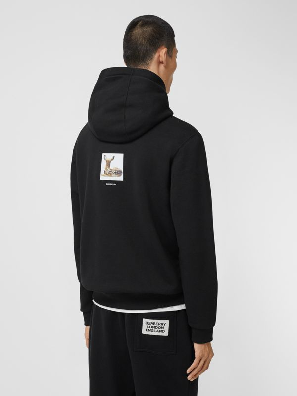 Deer Print Cotton Hoodie in Black - Men | Burberry Singapore - cell image 2