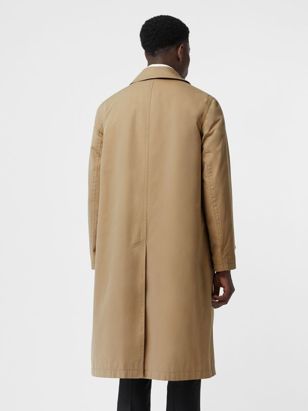 Leather Detail Cotton Gabardine Car Coat in Honey | Burberry - cell image 2