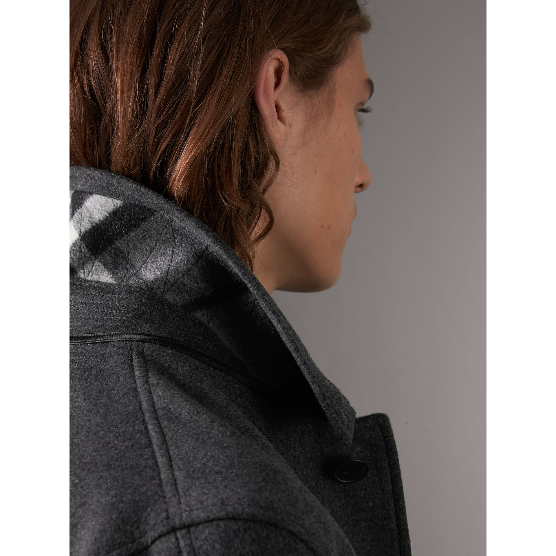 Wool Cashmere Blend Car Coat with Detachable Gilet in Dark Grey Melange - Men | Burberry - gallery image 6