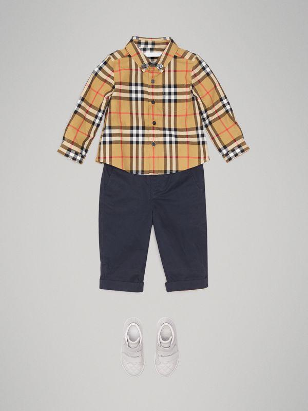 Button-down Collar Vintage Check Cotton Shirt in Antique Yellow - Children | Burberry United Kingdom - cell image 2