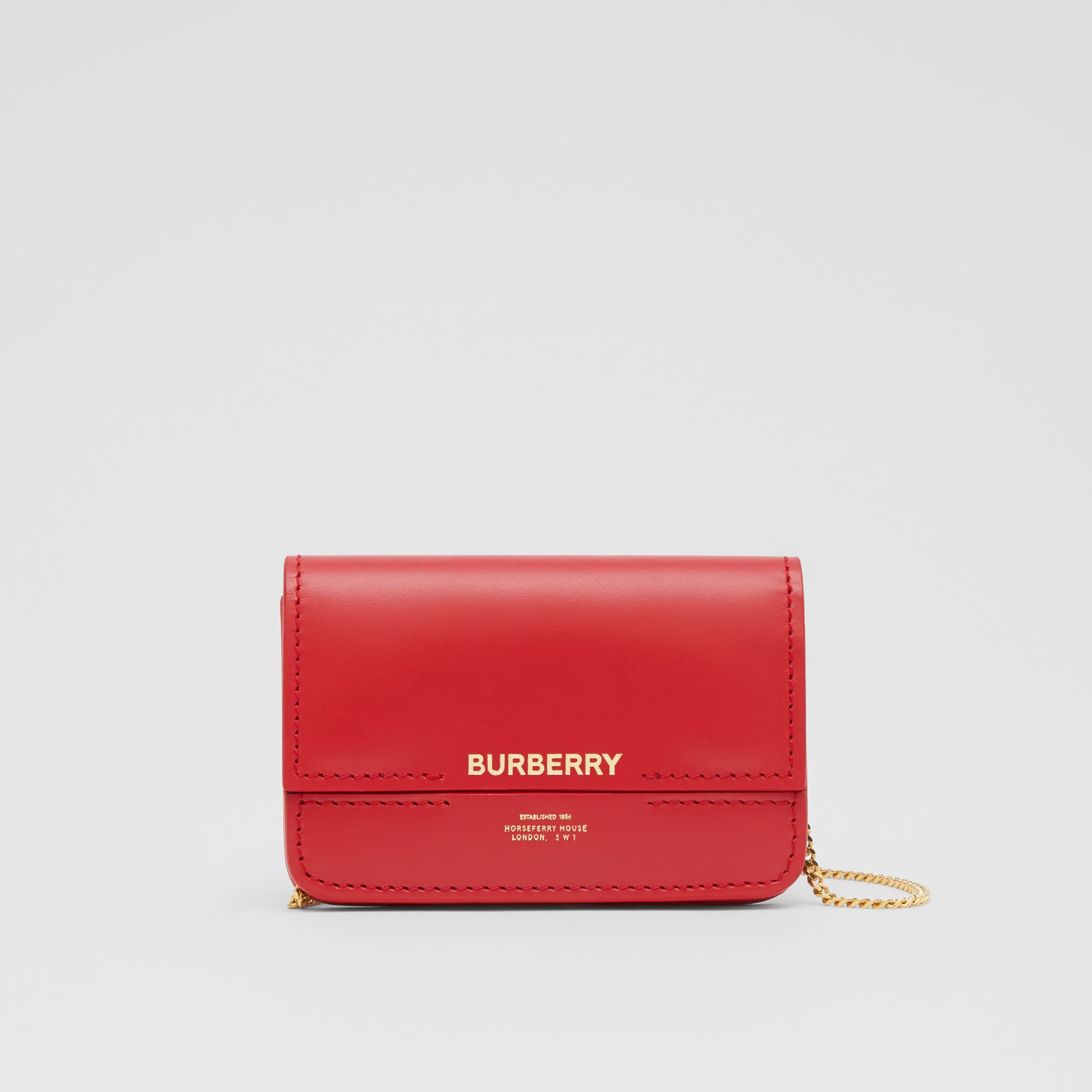 Two-tone Leather Card Case with Chain Strap in Red | Burberry - gallery image 0