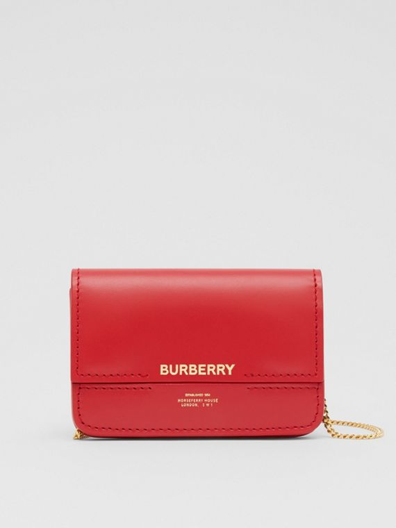 Two-tone Leather Card Case with Chain Strap in Red
