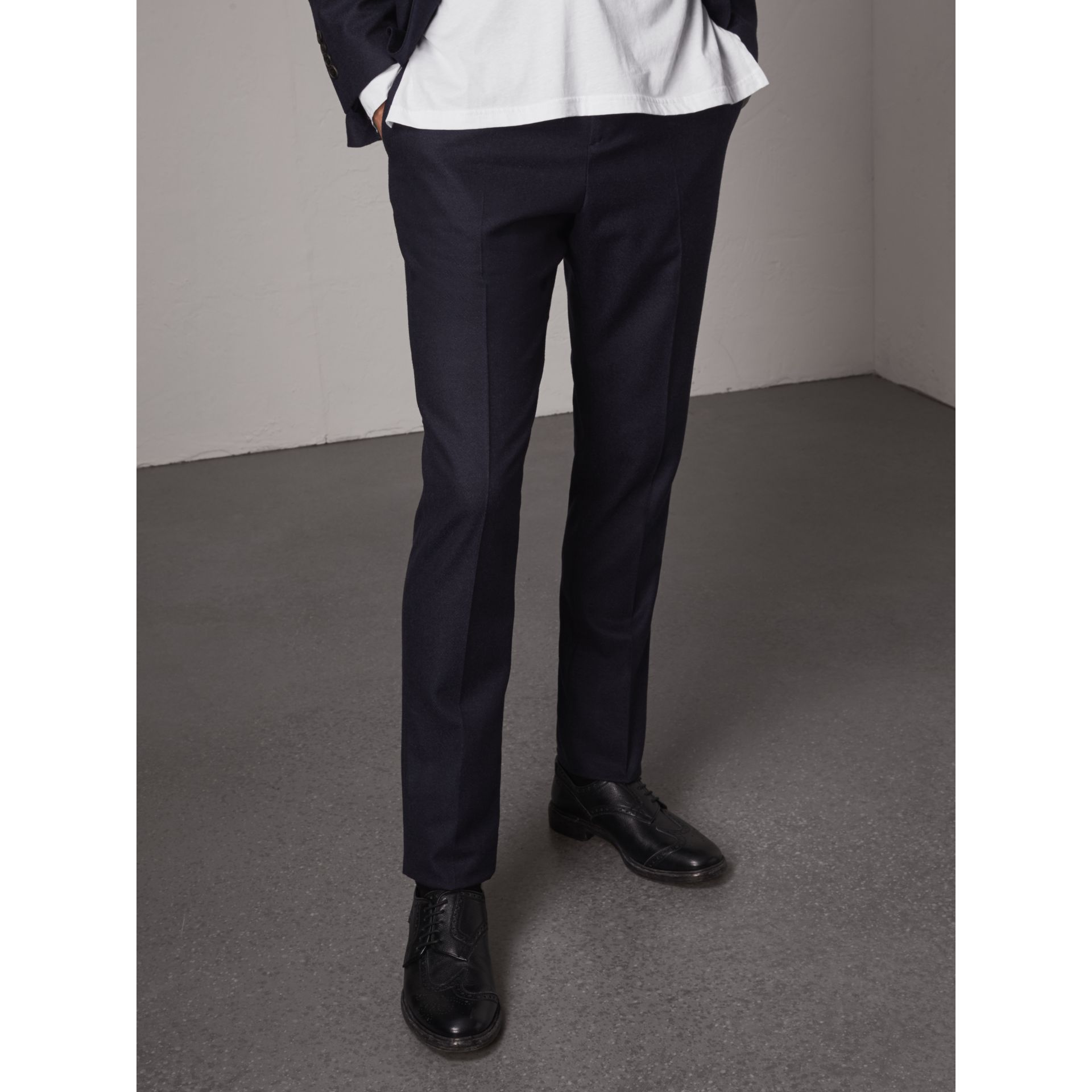 Soho Fit Wool Flannel Suit in Navy Melange - Men | Burberry Australia - gallery image 8