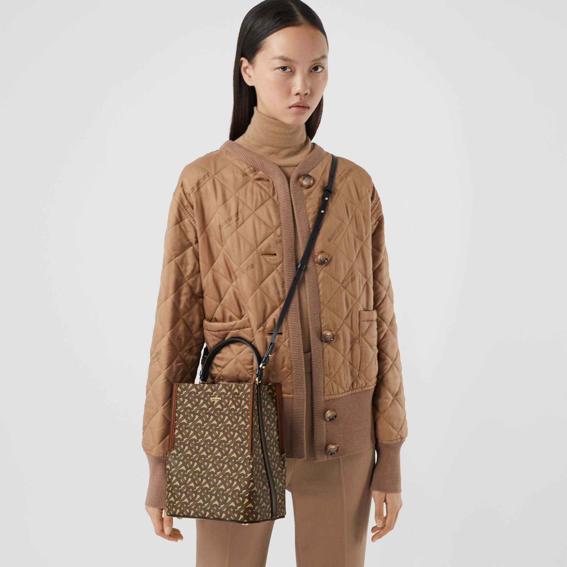 Small Monogram E-canvas Peggy Bucket Bag in Bridle Brown - Women | Burberry Australia - gallery image 8