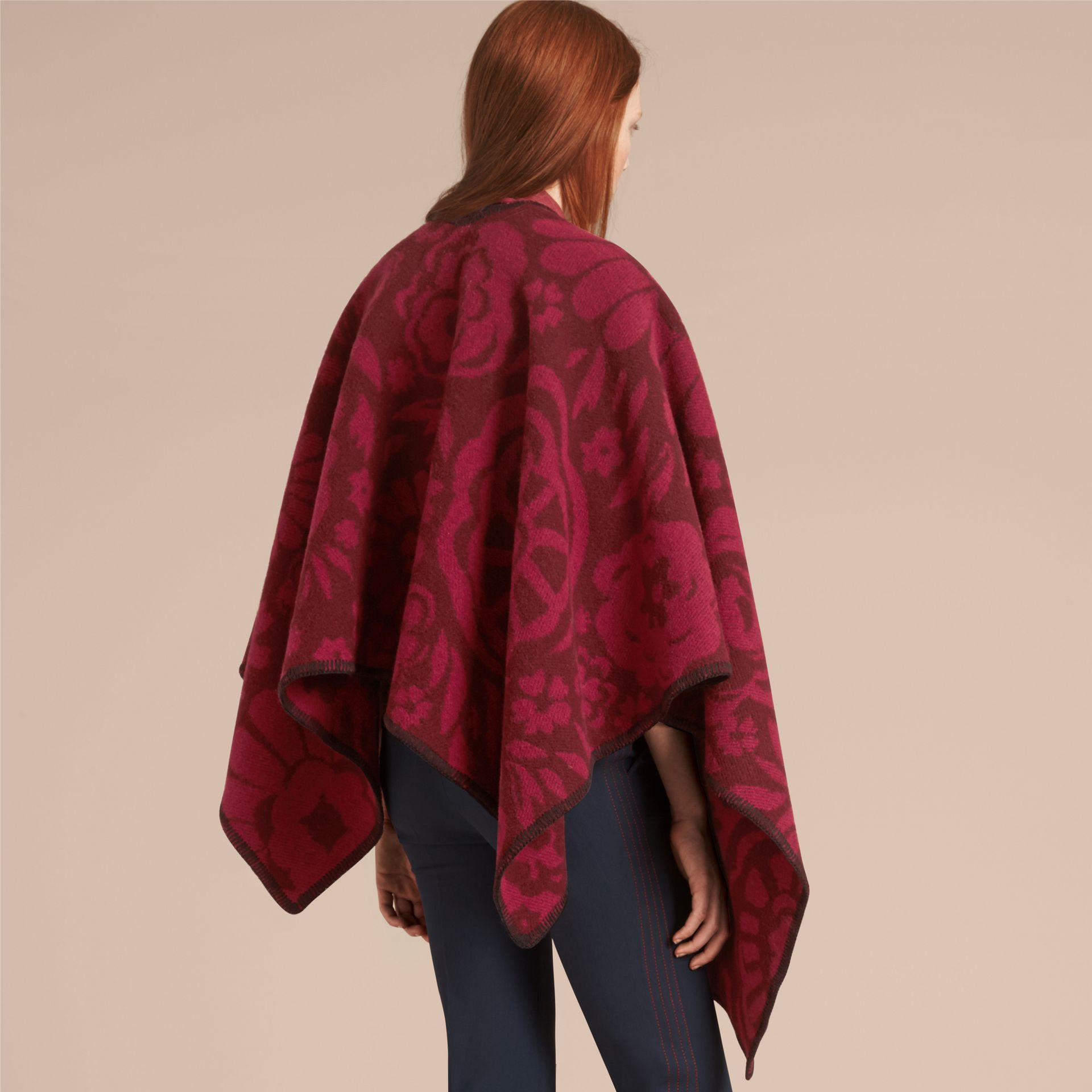 Plum Floral Jacquard Wool Cashmere Poncho - gallery image 3