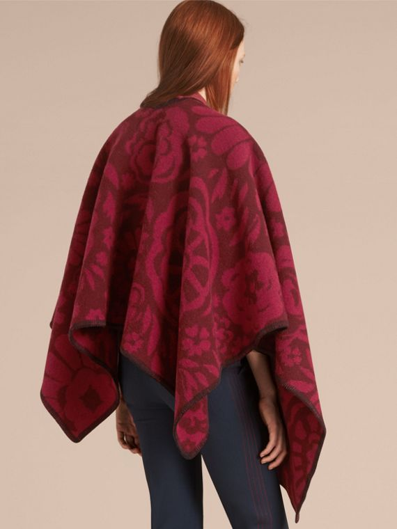 Plum Floral Jacquard Wool Cashmere Poncho - cell image 2
