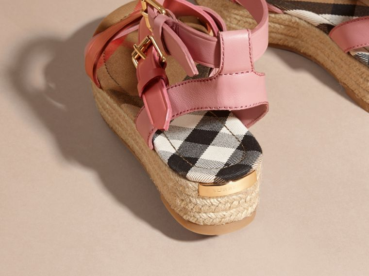 Two-tone Leather Espadrille Sandals - cell image 4