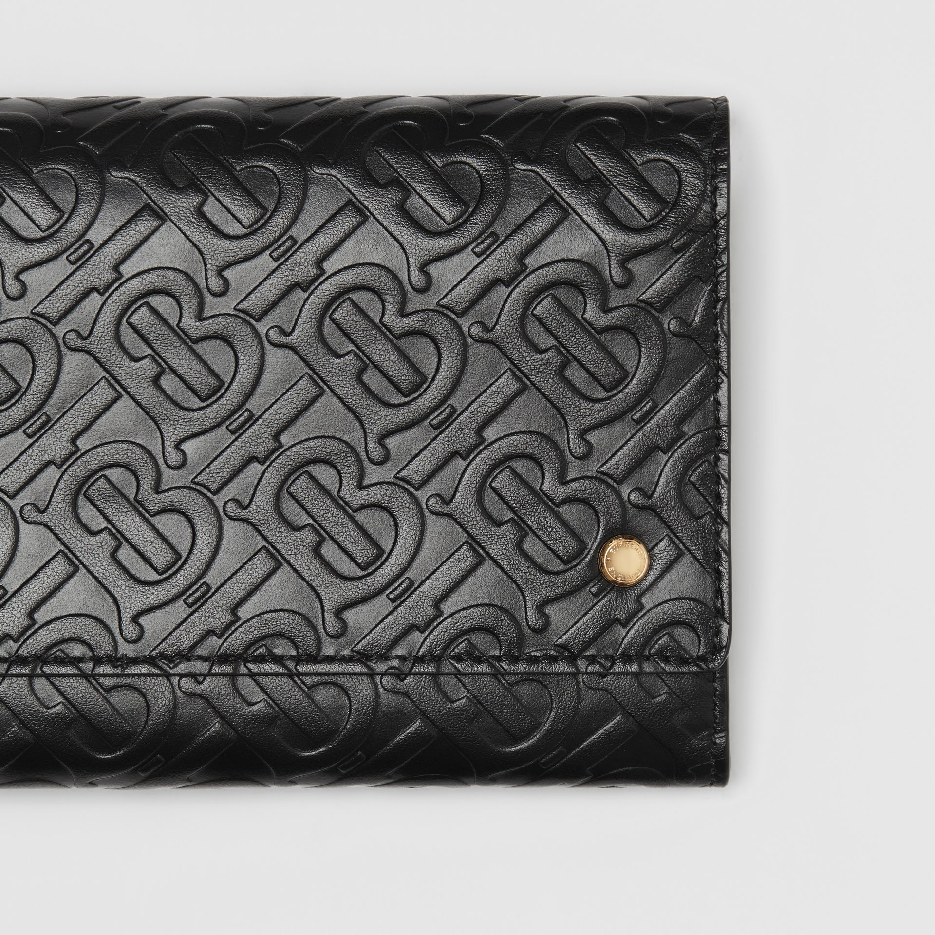 Monogram Leather Wallet with Detachable Strap in Black - Women | Burberry - gallery image 1