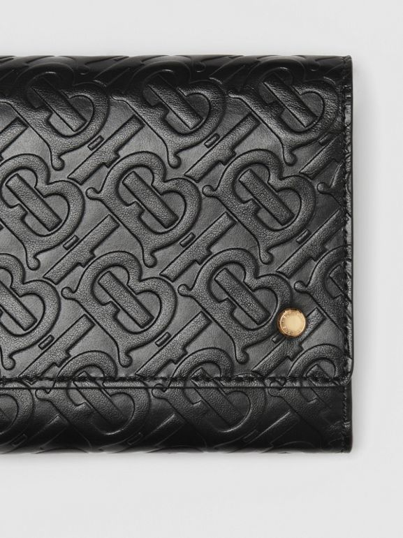 Monogram Leather Wallet with Detachable Strap in Black - Women | Burberry United States - cell image 1