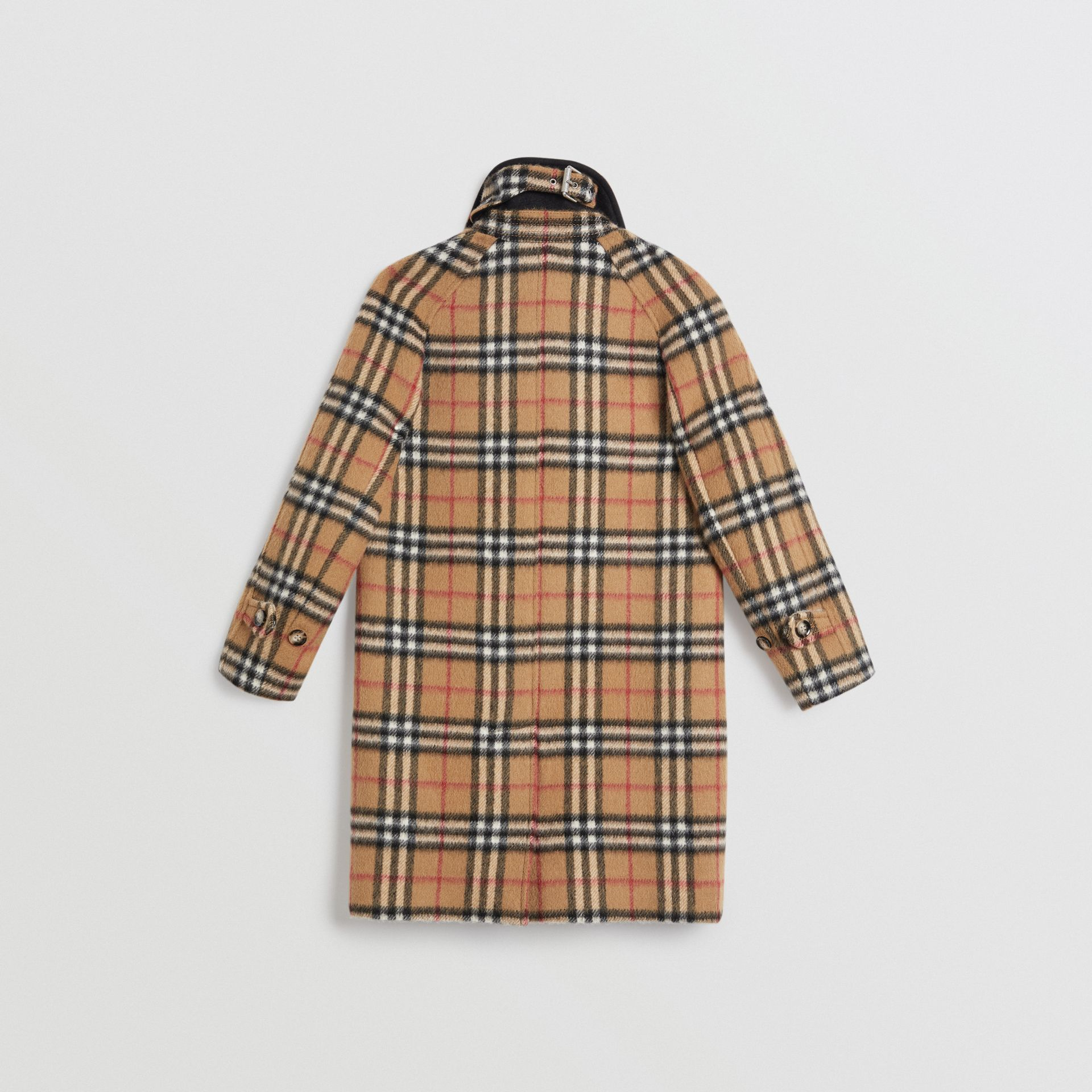 Vintage Check Alpaca Wool Blend Car Coat in Antique Yellow | Burberry - gallery image 3