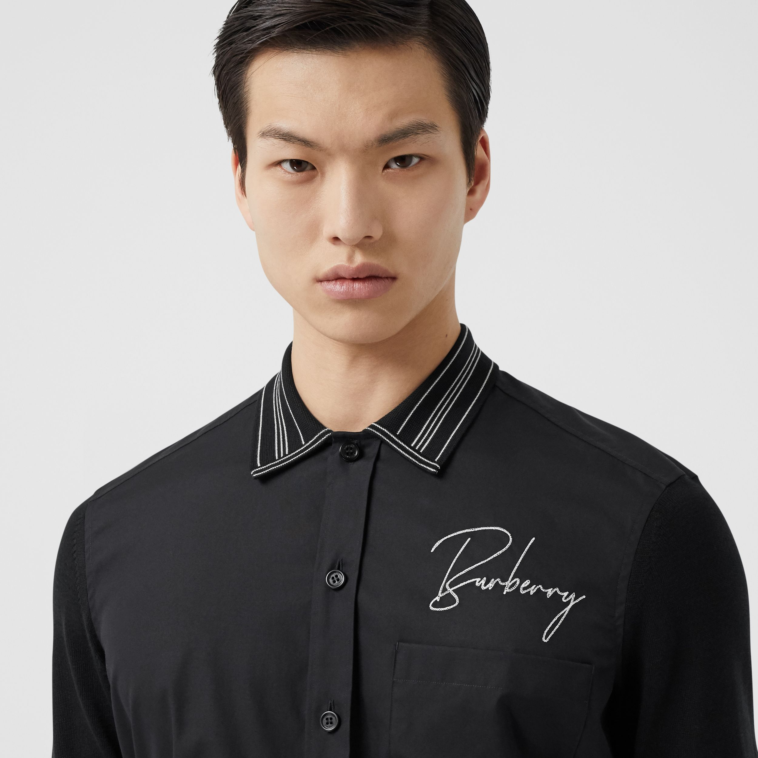 Silk Detail Logo Embroidered Cotton Poplin Shirt in Black - Men | Burberry - 2