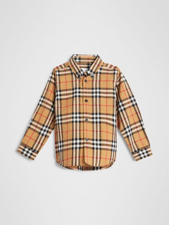 Camicia con motivo Vintage check e colletto button-down (Giallo Antico)