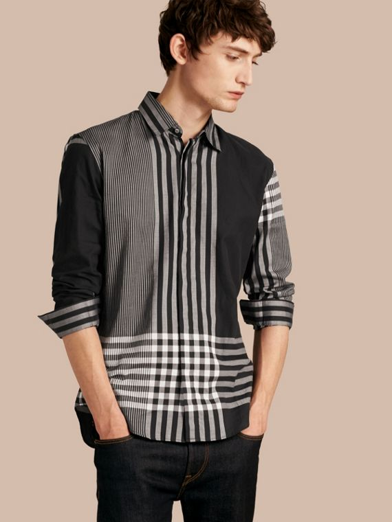 Graphic Check Cotton Shirt Black