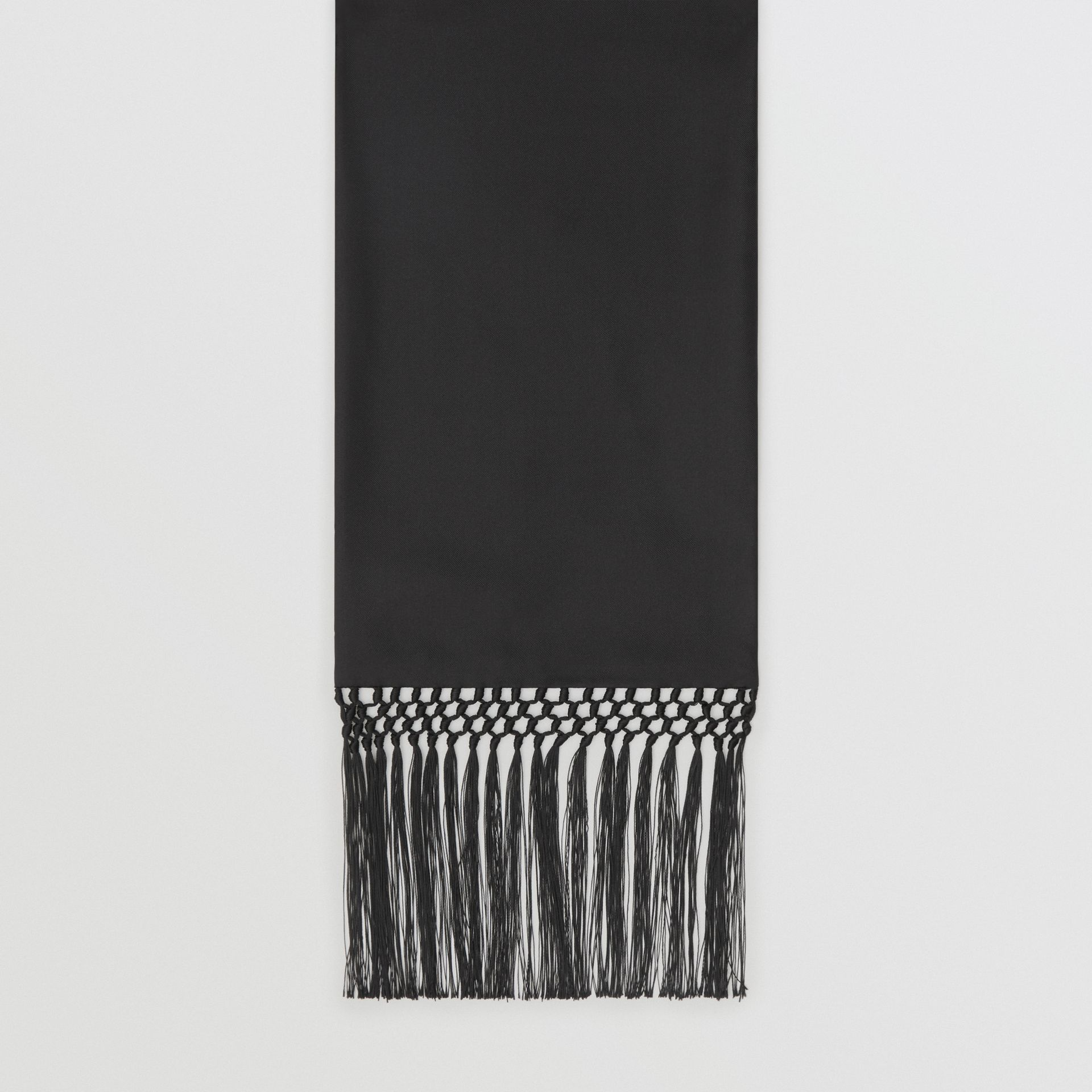 Fringed Silk Skinny Scarf in Black - Women | Burberry - gallery image 3