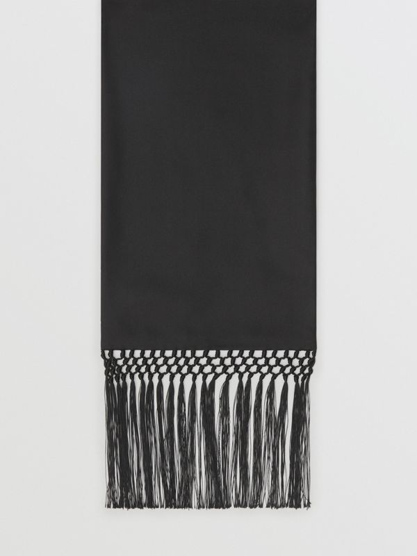Fringed Silk Skinny Scarf in Black - Women | Burberry - cell image 3