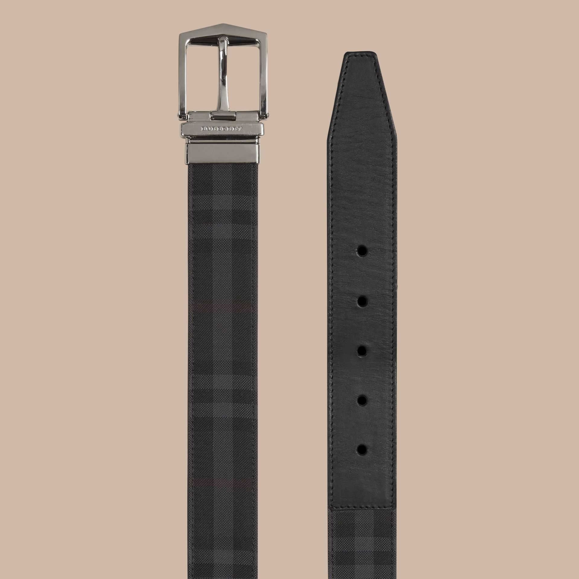 Reversible Horseferry Check and Leather Belt in Charcoal/black - gallery image 3