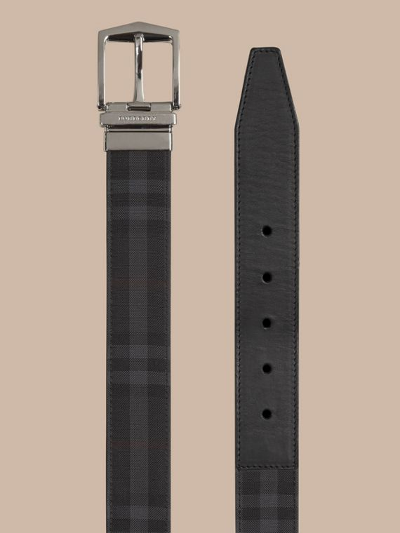 Reversible Horseferry Check and Leather Belt in Charcoal/black - cell image 2