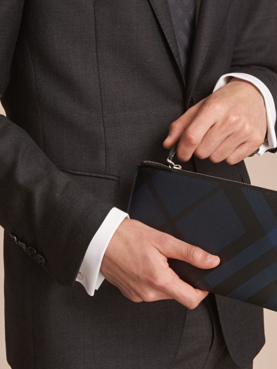 London Check Travel Wallet in Navy/black - Men | Burberry - cell image 2