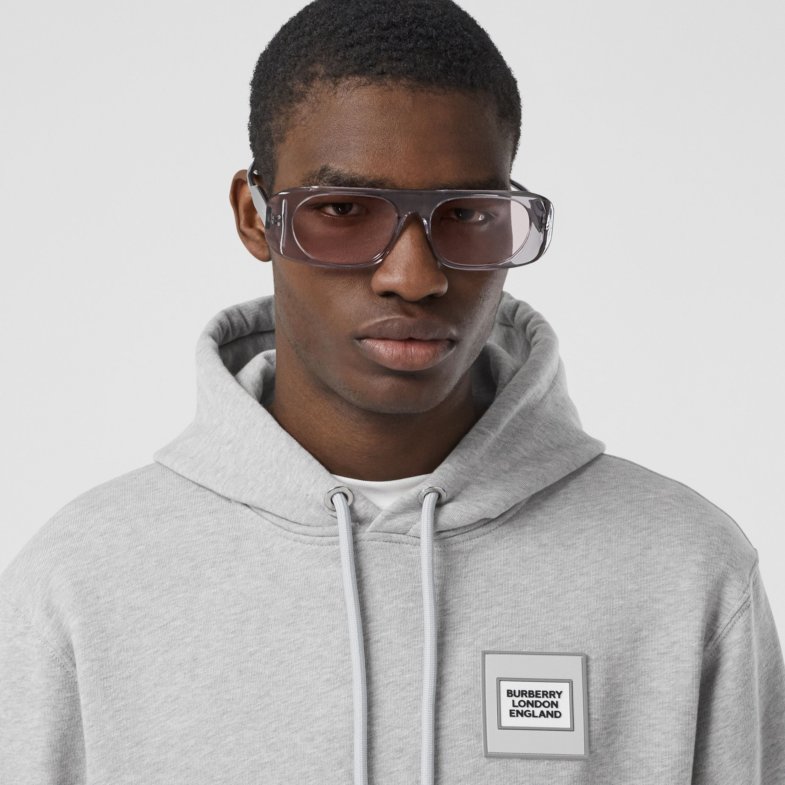 Panelled-sleeve Cotton Hoodie in Grey Melange - Men | Burberry - 2