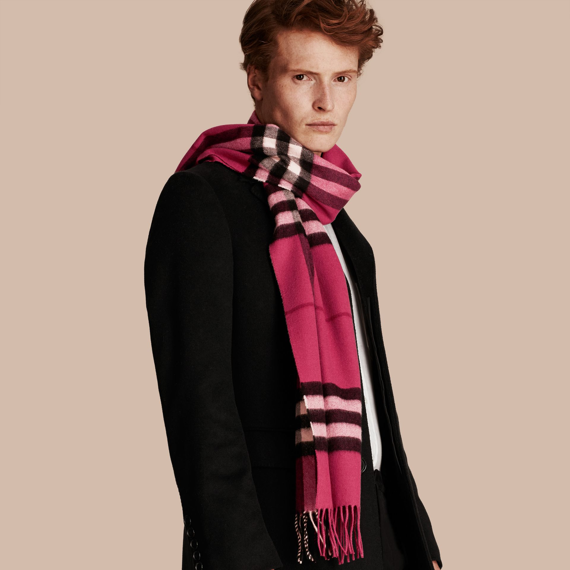 The Classic Cashmere Scarf in Check in Fuchsia Pink - gallery image 4