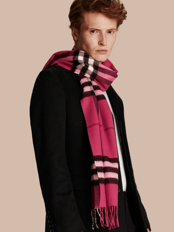 The Classic Cashmere Scarf in Check in Fuchsia Pink - cell image 3