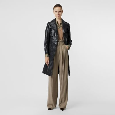 D Ring Detail Crinkled Leather Trench Coat by Burberry