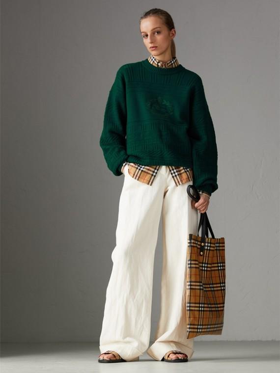 Bolsa grande tipo sacola revestida com estampa Vintage Check (Preto) | Burberry - cell image 2
