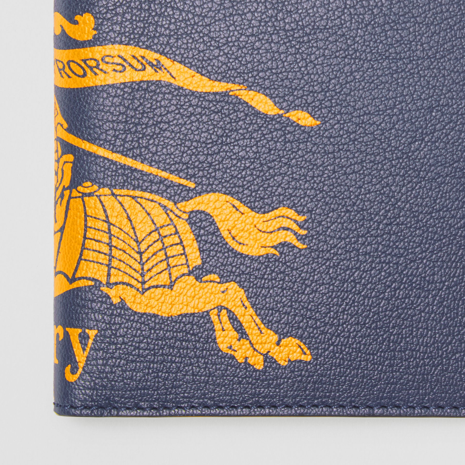 Contrast Logo Leather International Bifold Wallet in Storm Blue - Men | Burberry United States - gallery image 1