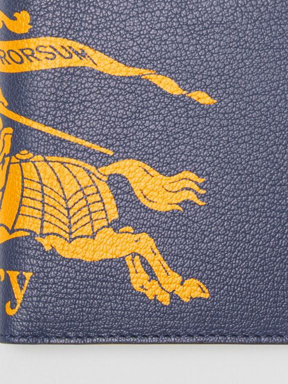 Contrast Logo Leather International Bifold Wallet in Storm Blue - Men | Burberry - cell image 1