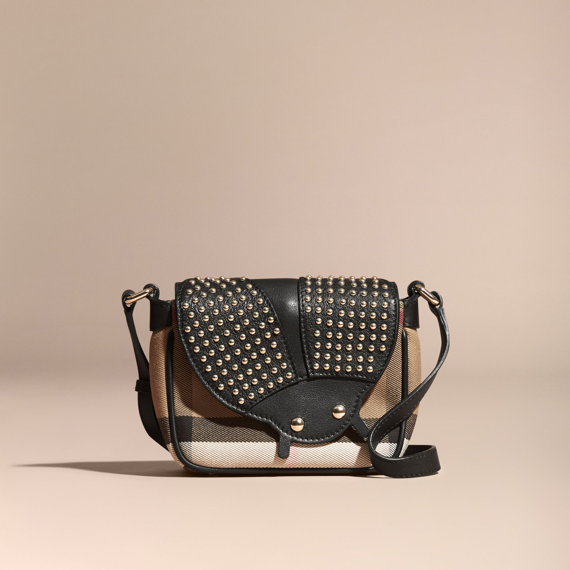 Black Canvas Check and Studded Ladybird Leather Crossbody Bag - gallery image 7