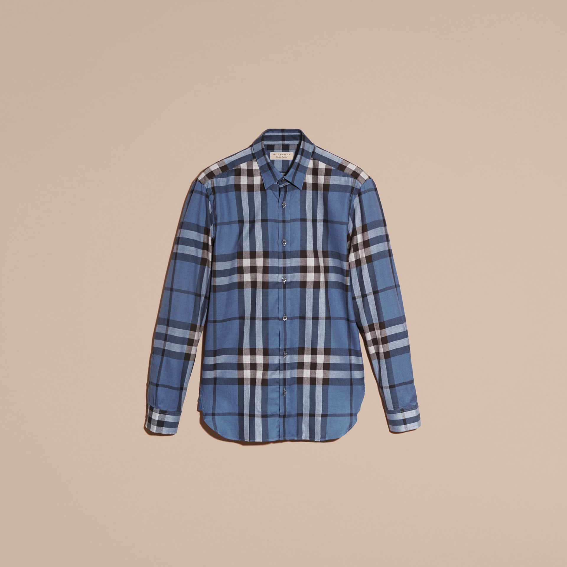 Pale lavender blue Check Cotton Cashmere Flannel Shirt Pale Lavender Blue - gallery image 4