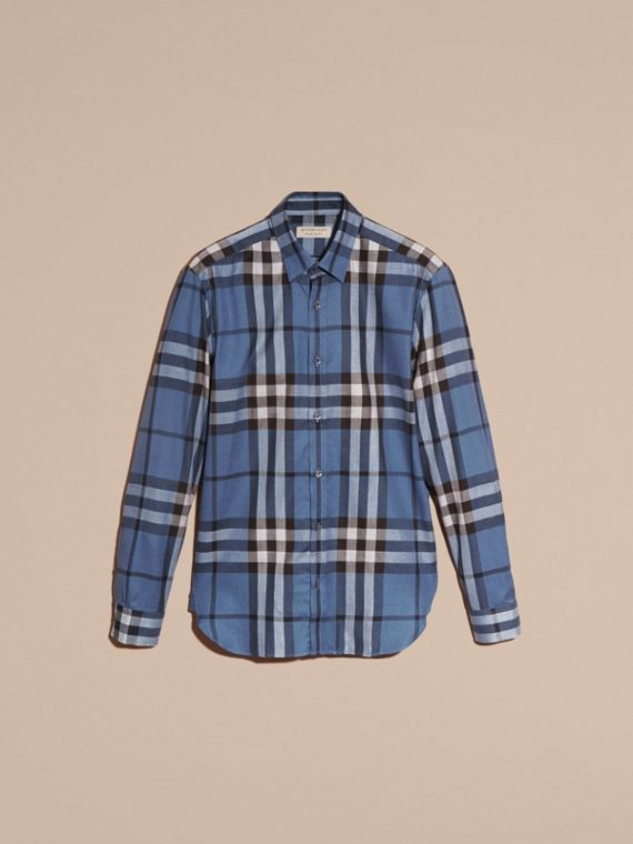 Check Cotton Cashmere Flannel Shirt Pale Lavender Blue - cell image 3