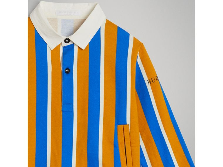 Striped Cotton Jersey Rugby Shirt in Bright Ochre Yellow - Boy | Burberry - cell image 4