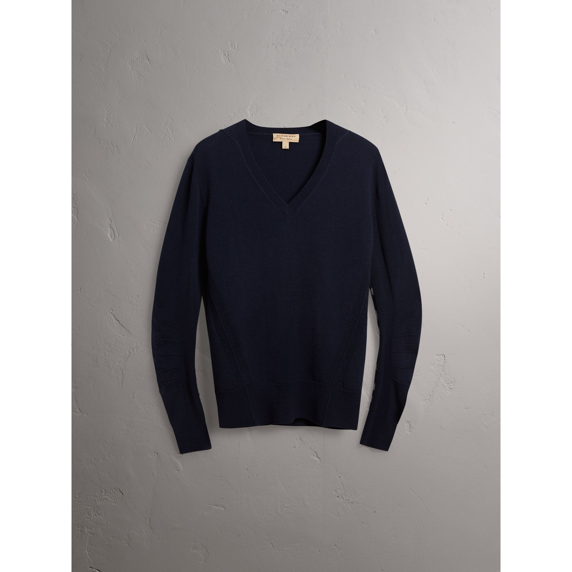 Check Detail Merino Wool V-neck Sweater in Navy - Men | Burberry - gallery image 4