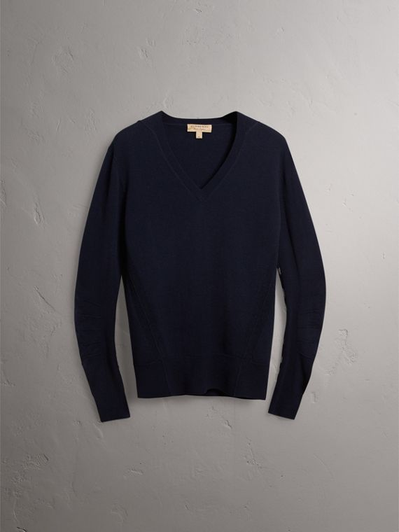 Check Detail Merino Wool V-neck Sweater in Navy - Men | Burberry - cell image 3