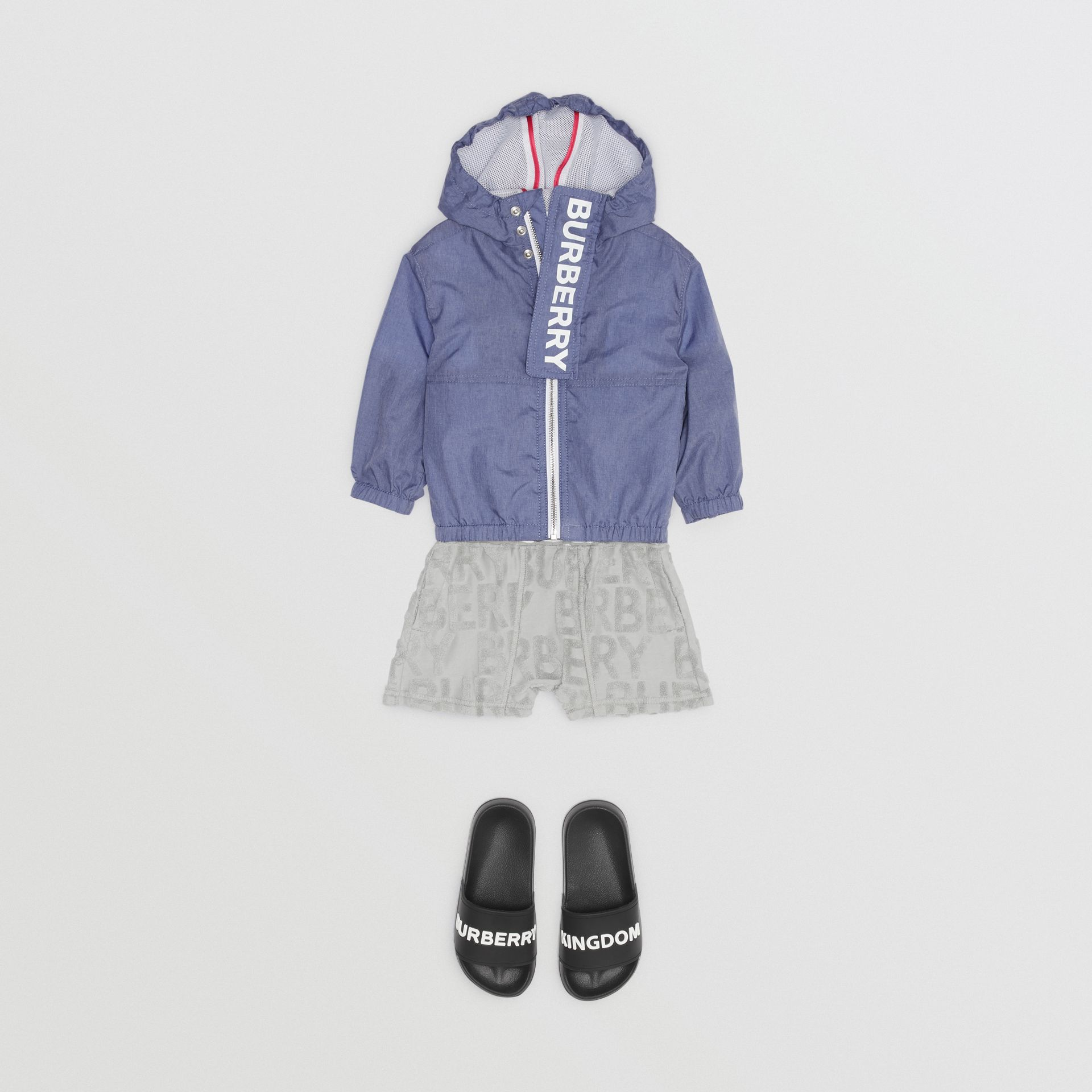 Logo Print Lightweight Hooded Jacket in Sapphire Blue - Children | Burberry Australia - gallery image 3