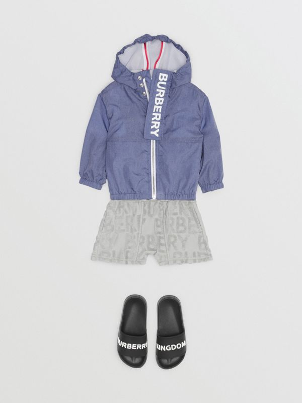 Logo Print Lightweight Hooded Jacket in Sapphire Blue - Children | Burberry Australia - cell image 3