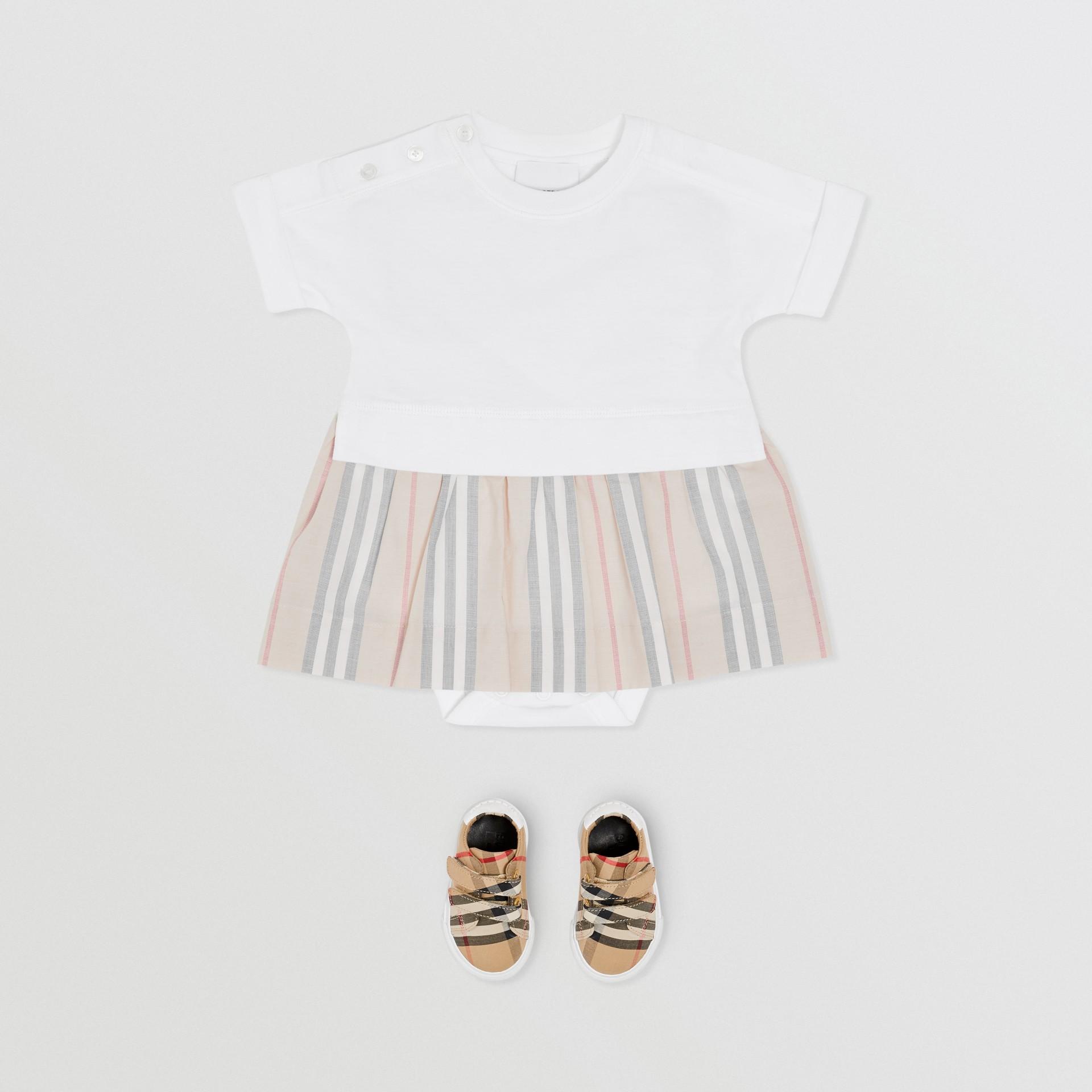 Icon Stripe Skirt Cotton Bodysuit in White - Children | Burberry Singapore - gallery image 2