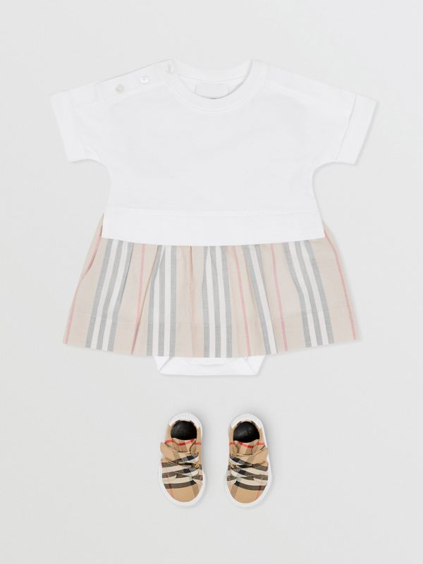 Icon Stripe Skirt Cotton Bodysuit in White - Children | Burberry United Kingdom - cell image 2