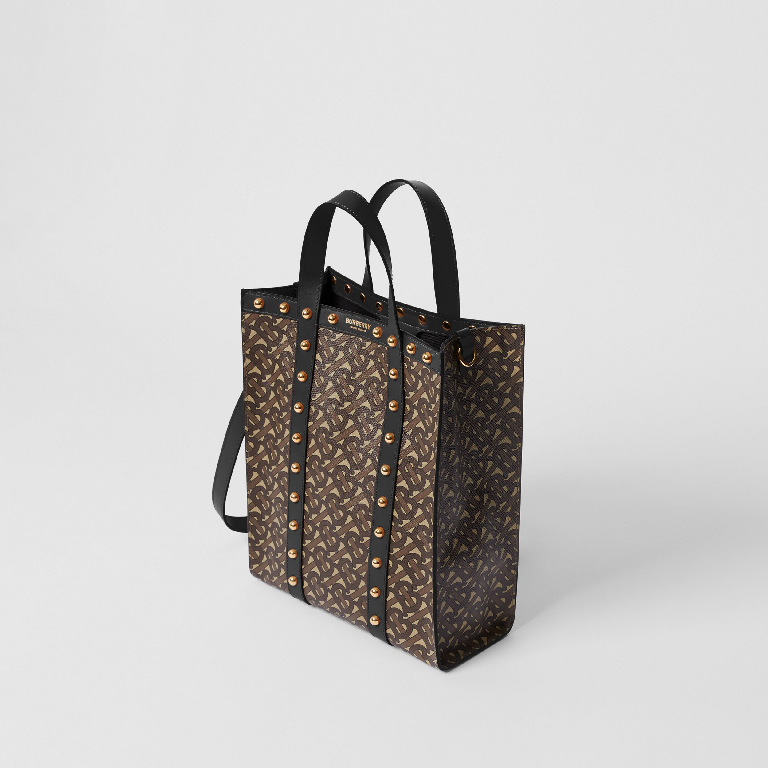 Small Monogram Print E-canvas Portrait Tote Bag in Black - Women | Burberry - 4