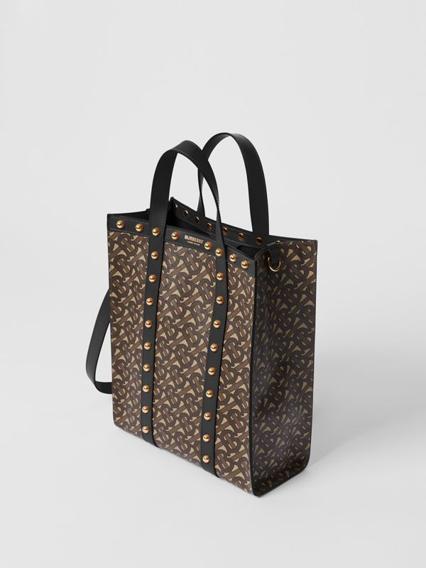 Small Monogram Print E-canvas Portrait Tote Bag in Black - Women | Burberry - cell image 3