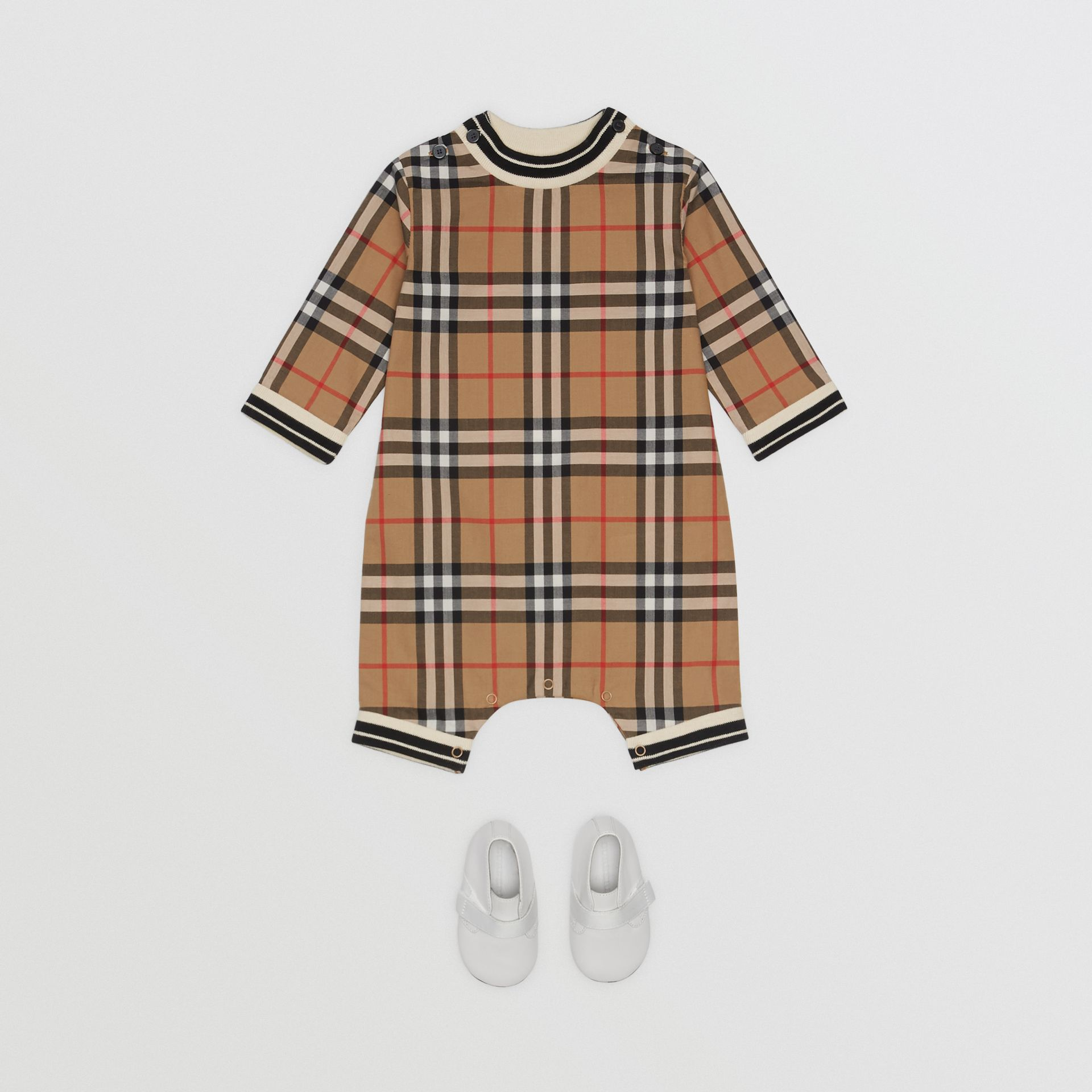 Vintage Check Cotton Poplin Jumpsuit in Antique Yellow - Children | Burberry - gallery image 2