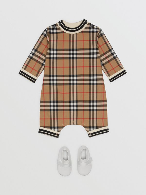 Vintage Check Cotton Poplin Jumpsuit in Antique Yellow - Children | Burberry - cell image 2