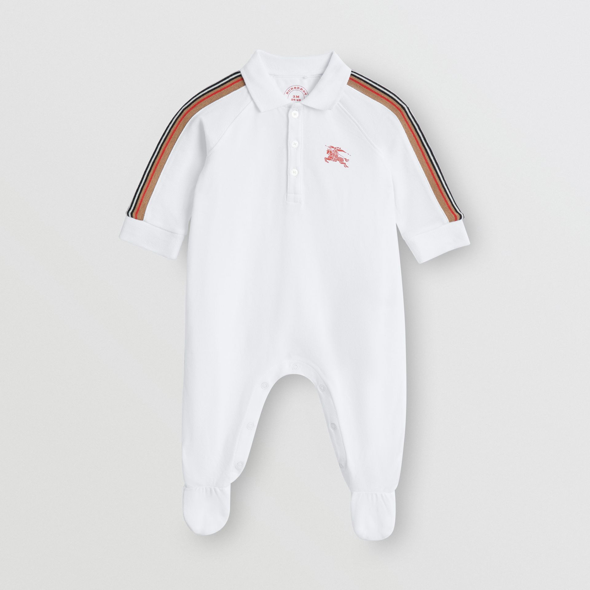 Icon Stripe Two-piece Baby Gift Set in White - Children | Burberry - gallery image 2