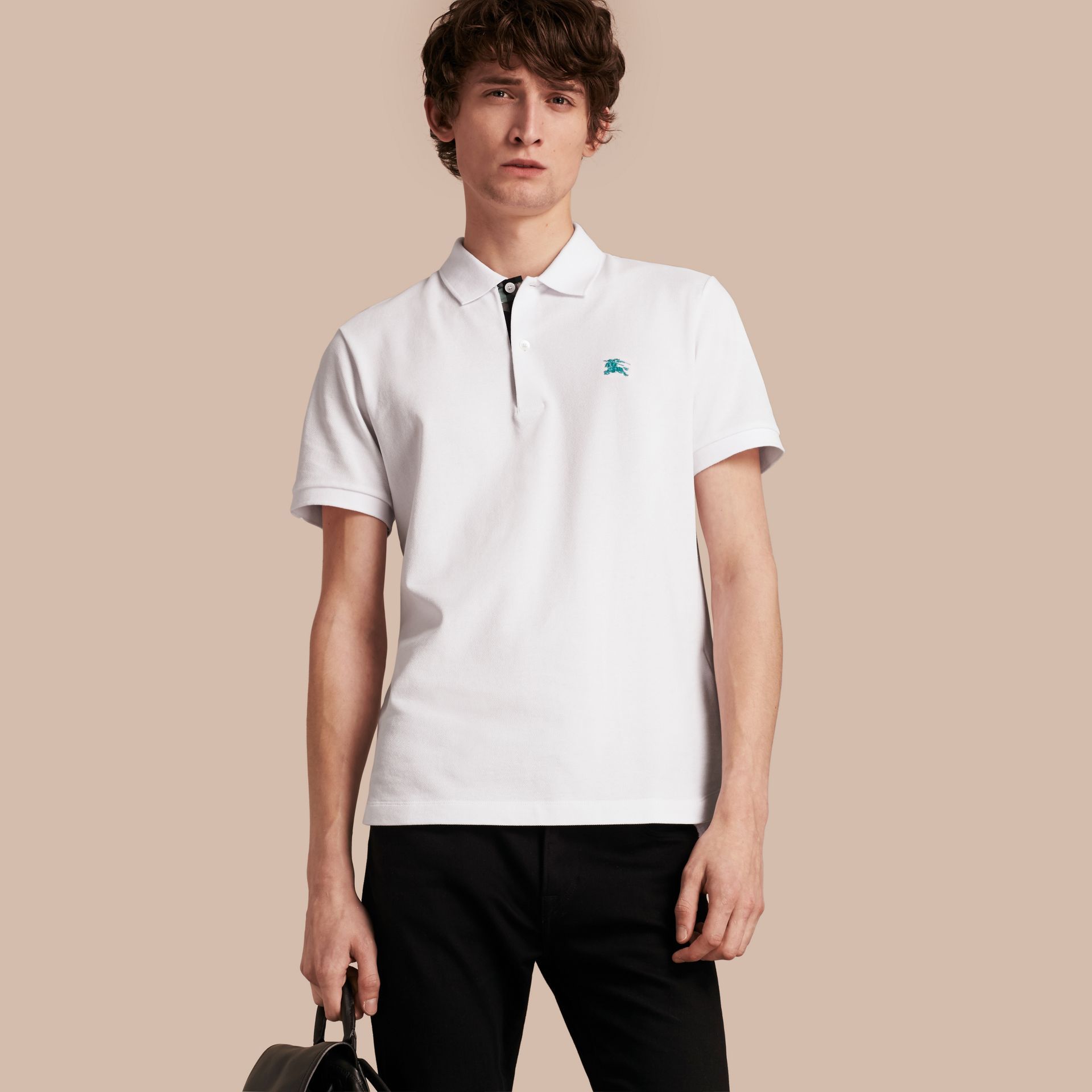 Printed Check Placket Cotton Piqué Polo Shirt in White - gallery image 1