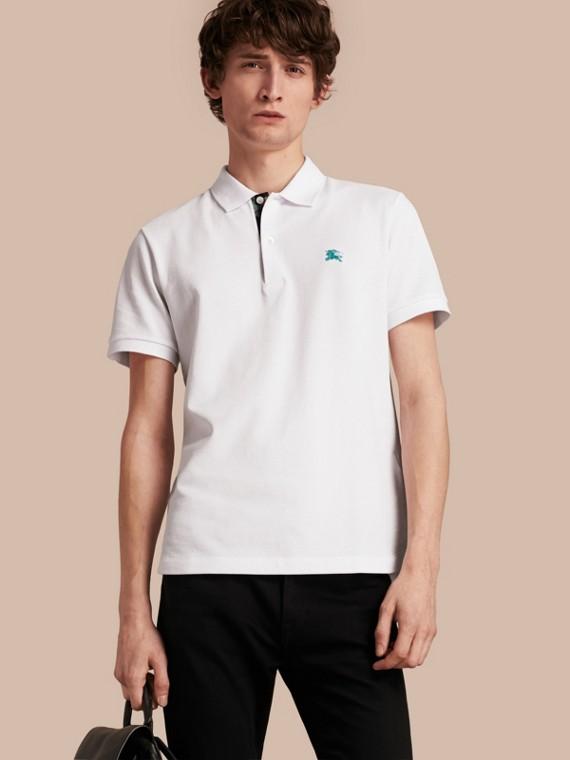 Printed Check Placket Cotton Piqué Polo Shirt White