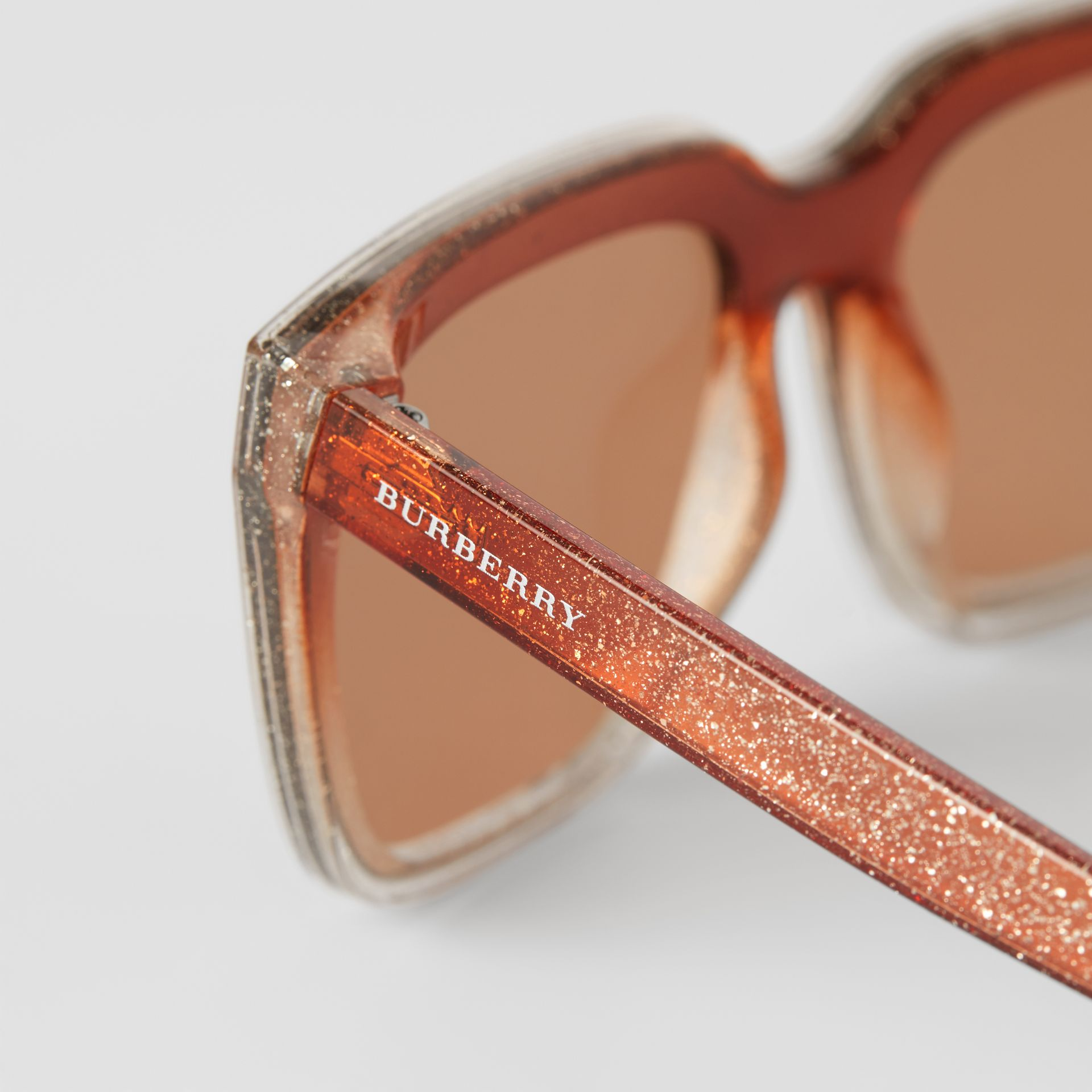 Glitter Detail Square Frame Shield Sunglasses in Pink - Women | Burberry - gallery image 1