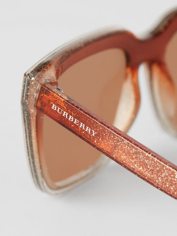 Glitter Detail Square Frame Shield Sunglasses in Pink - Women | Burberry - cell image 1