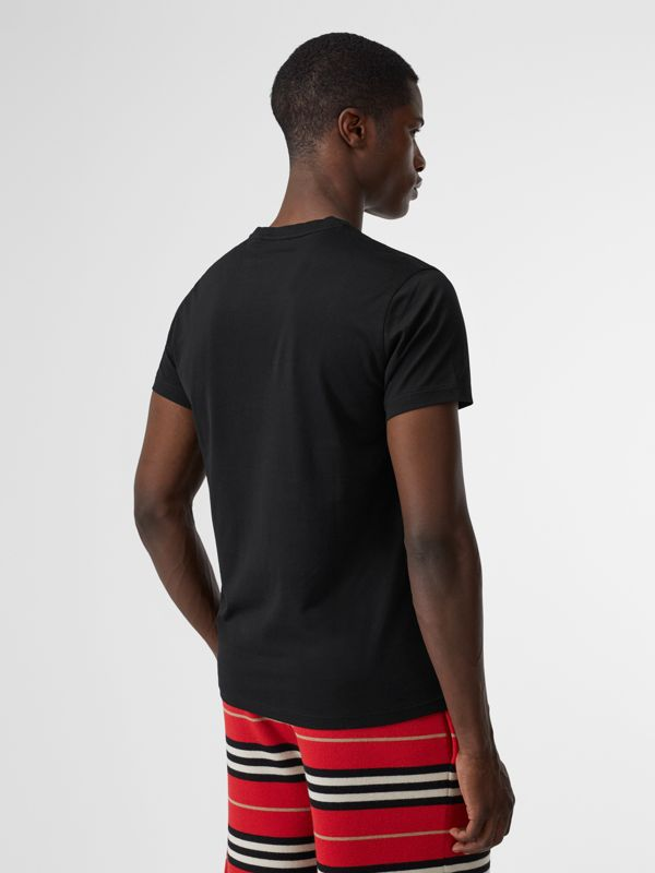 Monogram Motif Cotton V-neck T-shirt in Black - Men | Burberry United Kingdom - cell image 2