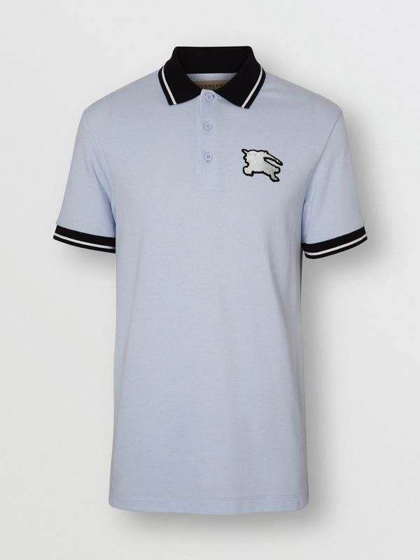 Tipped Cotton Piqué Polo Shirt in Light Indigo - Men | Burberry Canada - cell image 3